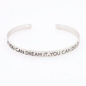 Dream It Do It Mantra Silver Open Bangle Bracelet